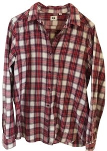 6b5d6f1303050 Uniqlo Pink Women's Flannel Button-down Top Size 8 (M) - Tradesy