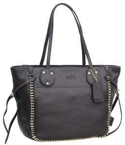 Coach Limited Edition Rare Leather Chain Woven Tote in black
