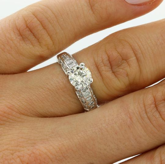 White Gold 1.02 Cts Round Cut Set In 14k Engagement Ring Image 4