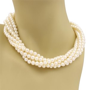 Tiffany & Co. Paloma Picasso 5 Strand Pearls Sterling Silver Ring Clasp Necklace