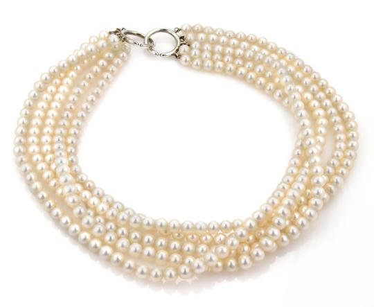 Tiffany & Co. Paloma Picasso 5 Strand Pearls Sterling Silver Ring Clasp Necklace Image 1