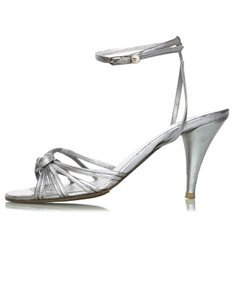 Chanel Strappy Heels silver Sandals