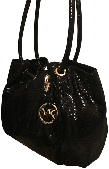 Michael Kors Ring Leather Navy Color Leather Tote in Black Image 0