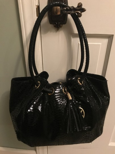 Michael Kors Ring Leather Navy Color Leather Tote in Black Image 3