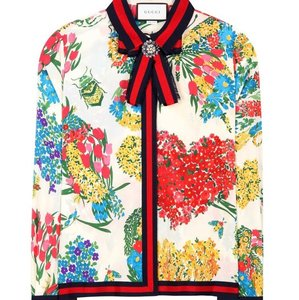 3505180b9af Gucci Multicolor Runway Silk Corsage Print Floral Print Blouse Button-down  Top