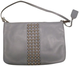 Levity Leather Powder Studded Blue Clutch