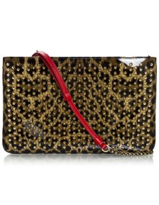 Christian Louboutin Patent Leather Leopard Studs brown Clutch