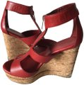 Jimmy Choo Leather Zipper Modern Comfortable red Wedges