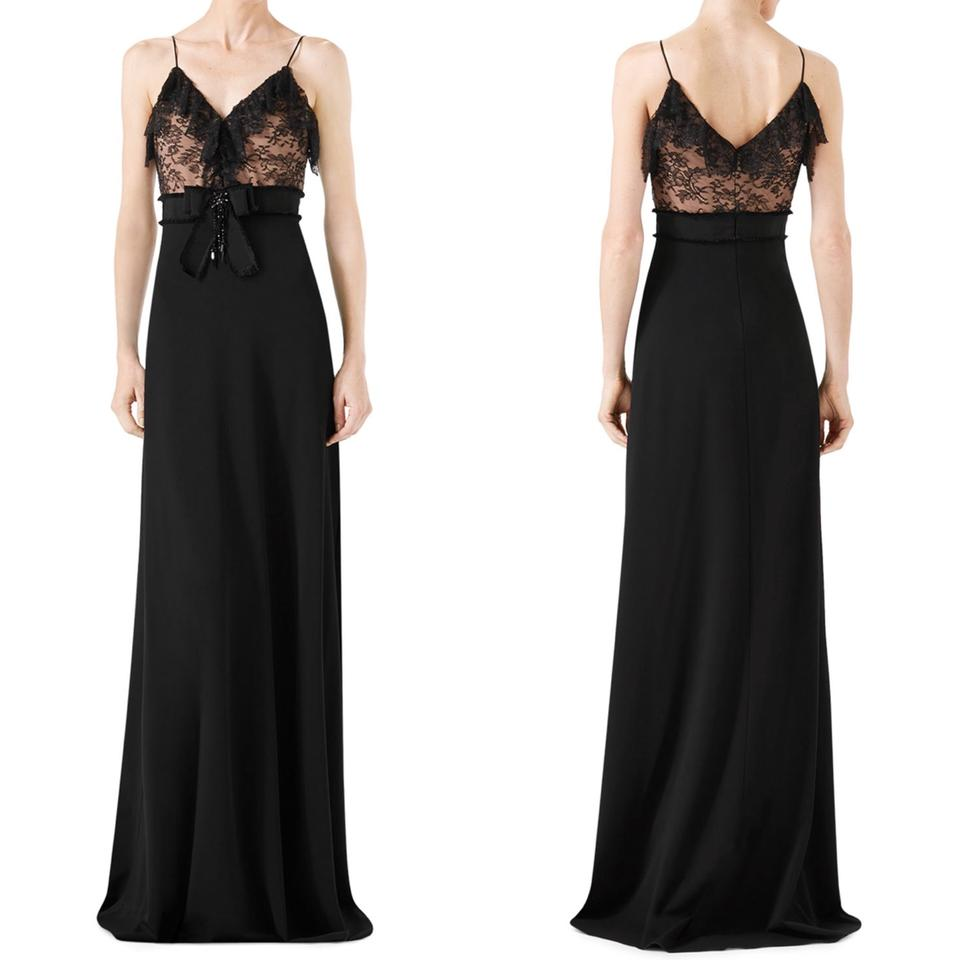 Gucci Black Viscose Embellished Ruffled Bow Gown Long Formal Dress ...