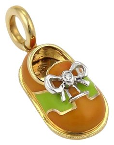 Aaron Basha Diamond Enamel 18k Gold Saddle Design Bow Shoe Charm Pendant