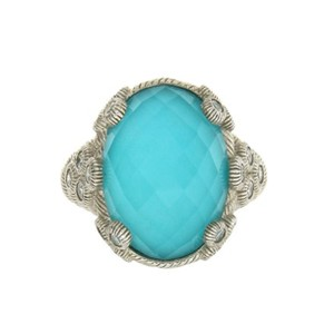Judith Ripka new JUDITH RIPKA Sterling Silver Doublet turquoise crystal ring 8