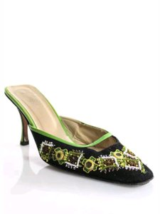 Fendi Slides Pumps Leather Embellished Mules Black green yellow white Sandals