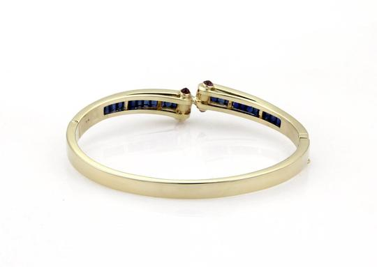 Other Estate 5.40ct Sapphire & Ruby 14k Yellow Gold Fancy Bangle Bracelet Image 2