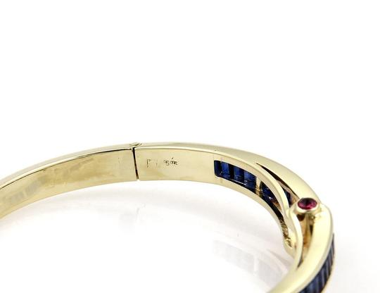 Other Estate 5.40ct Sapphire & Ruby 14k Yellow Gold Fancy Bangle Bracelet Image 3
