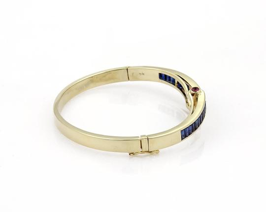Other Estate 5.40ct Sapphire & Ruby 14k Yellow Gold Fancy Bangle Bracelet Image 4