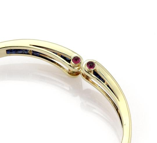 Other Estate 5.40ct Sapphire & Ruby 14k Yellow Gold Fancy Bangle Bracelet Image 5