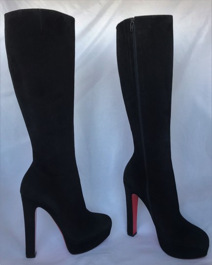 Christian Louboutin Thigh High Ankle Over The Knee Heel Black Boots Image 4