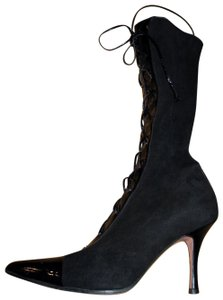 Escada Lace Up Mid-calf Patent Leather Suede Pointed Toe Black Boots