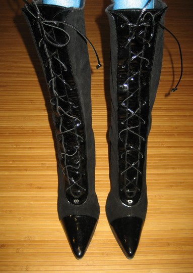 Escada Lace Up Mid-calf Patent Leather Suede Pointed Toe Black Boots Image 1