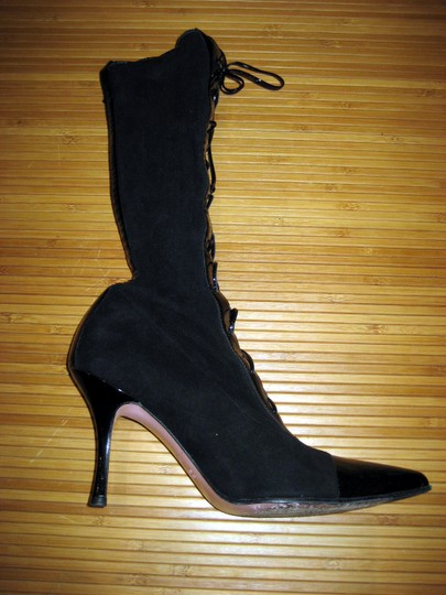 Escada Lace Up Mid-calf Patent Leather Suede Pointed Toe Black Boots Image 6