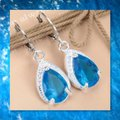 Other New Blue Topaz 925 Silver Water Drop Earrings Image 2