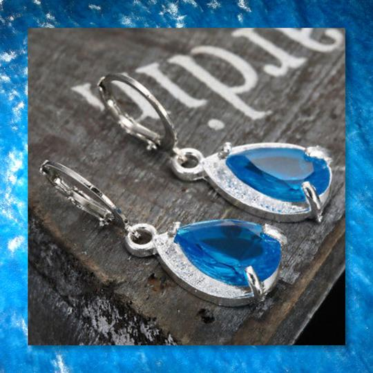 Other New Blue Topaz 925 Silver Water Drop Earrings Image 3