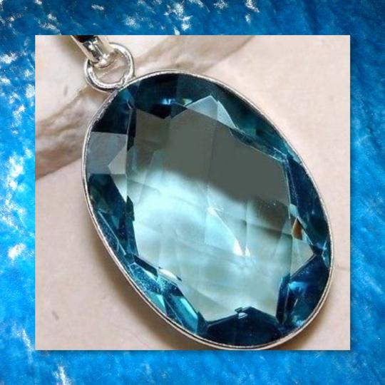 Other New Blue Topaz 925 Silver Oval Pendant Image 1