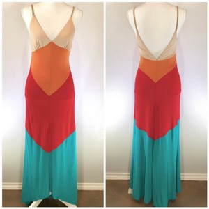 Nude Orange Red Turquoise Maxi Dress by Haute Hippie Hi Lo Color-blocking Date Night Boho Festival