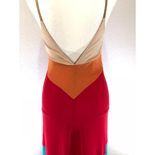 Nude Orange Red Turquoise Maxi Dress by Haute Hippie Hi Lo Color-blocking Date Night Boho Festival Image 5