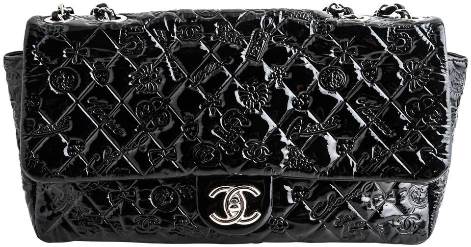 89b07e68994a09 Chanel Classic Flap Lucky Charms * Black Patent Leather Shoulder Bag ...