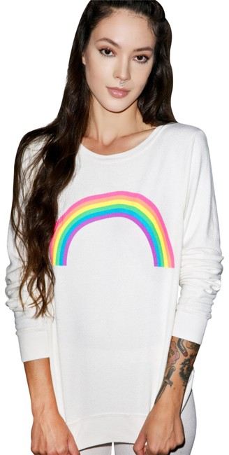 Preload https://img-static.tradesy.com/item/22823646/wildfox-white-forever-rainbow-small-sweaterpullover-size-4-s-0-1-650-650.jpg