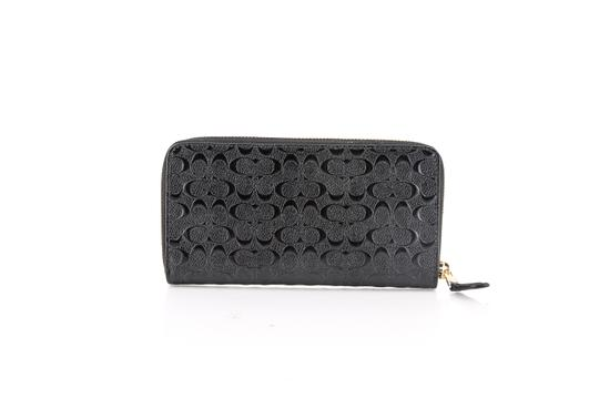 Coach Coach Accordion Zip Wallet in Signature Debossed Patent Leather Black Image 3