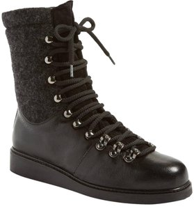 Alberto Fermani Leather and Wool Lace up Combat Boots