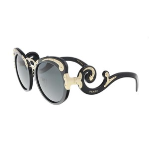 Prada Prada Black/Gold Oversized Round Sunglasses