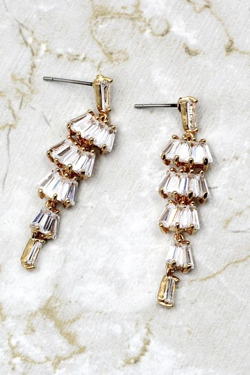 Ocean Fashion Long section with zircon earrings Image 2