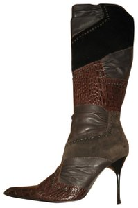 ALDO Knee High Leather Pointed Toe Calf Hair Brown Patchwork Boots