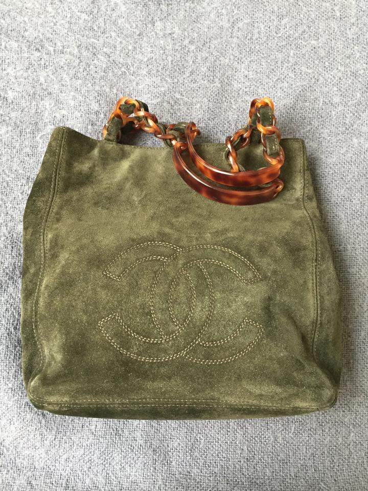 1c8fef67cfd5 Chanel Excellent Condition Olive Green Suede Leather Hobo Bag - Tradesy