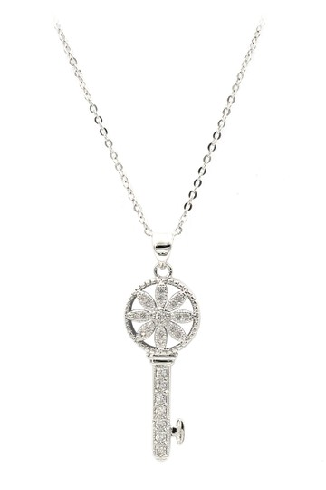Preload https://img-static.tradesy.com/item/22824053/oxford-circus-fashion-silver-sterling-hollow-flower-crystal-key-necklace-0-0-540-540.jpg