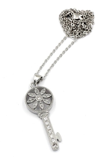 Oxford Circus Fashion Sterling silver hollow flower crystal key necklace Image 1