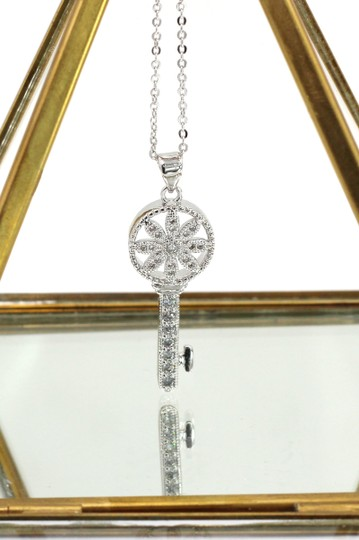 Oxford Circus Fashion Sterling silver hollow flower crystal key necklace Image 2