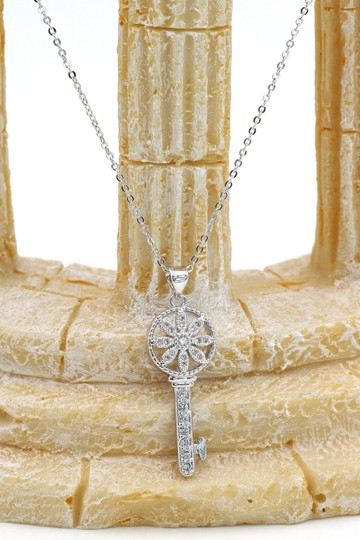 Oxford Circus Fashion Sterling silver hollow flower crystal key necklace Image 4
