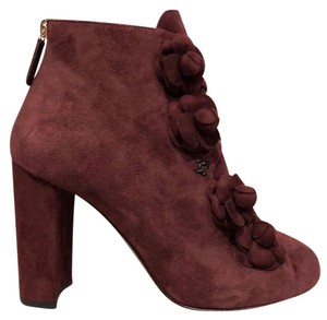 Chanel Camellia Flower Stiletto Ankle burgundy Boots