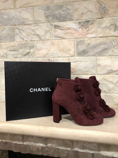 Chanel Camellia Flower Stiletto Ankle burgundy Boots Image 1