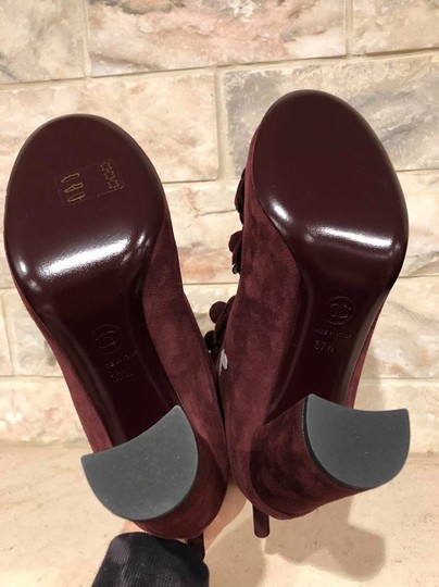 Chanel Camellia Flower Stiletto Ankle burgundy Boots Image 11