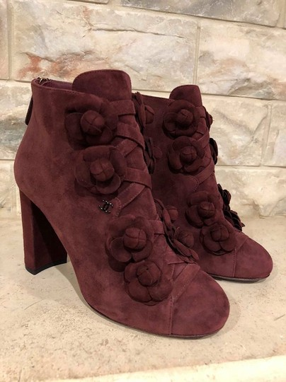 Chanel Camellia Flower Stiletto Ankle burgundy Boots Image 2