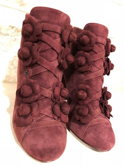 Chanel Camellia Flower Stiletto Ankle burgundy Boots Image 3