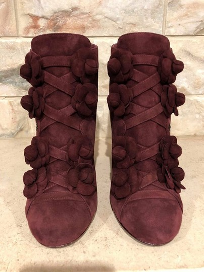 Chanel Camellia Flower Stiletto Ankle burgundy Boots Image 4