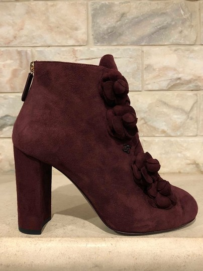 Chanel Camellia Flower Stiletto Ankle burgundy Boots Image 5