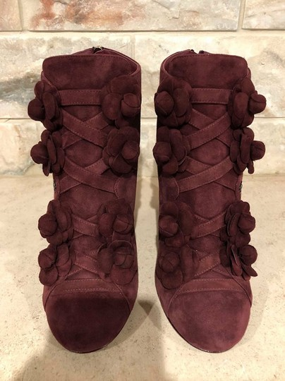 Chanel Camellia Flower Stiletto Ankle burgundy Boots Image 6