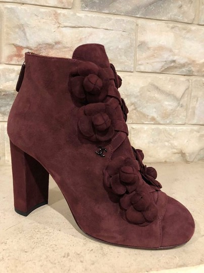 Chanel Camellia Flower Stiletto Ankle burgundy Boots Image 7